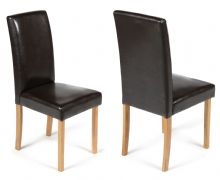 Pair of Brown Torino Faux Leather Chairs 1/2 Price Deal